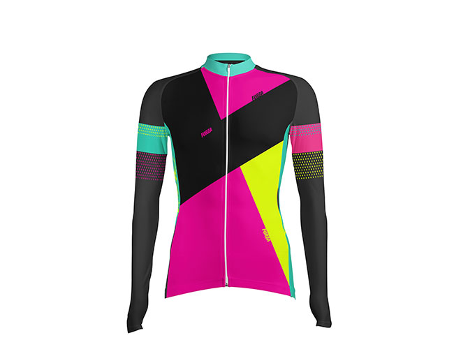 Camiseta de Ciclismo Mujer Manga Larga Blocks - Forza Fit Wear Ropa ... 953d11b54985a