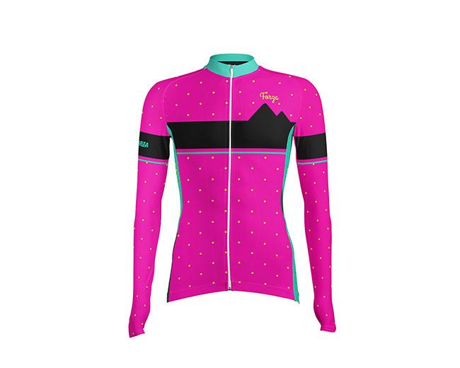 Camiseta de Ciclismo Mujer Manga Larga Dots - Forza Fit Wear Ropa ... 34ff9f595aae5