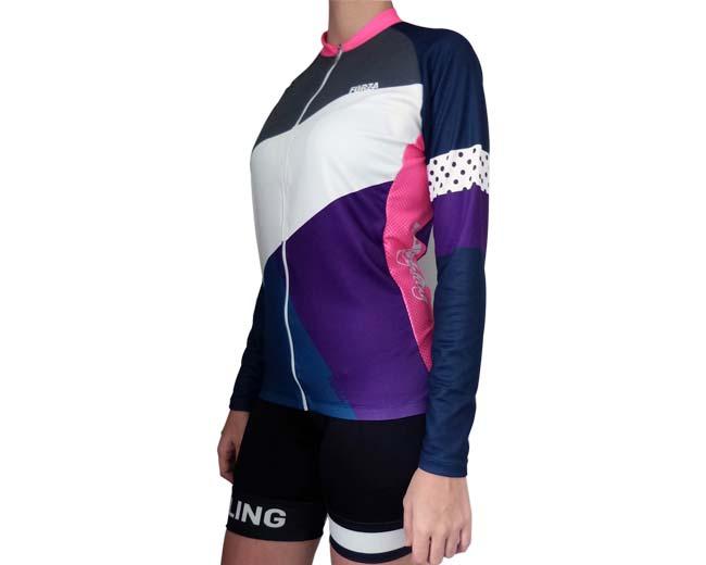 De Larga Morada Ciclismo Forza Mujer Blocks Camiseta Fit Manga iPXuZk