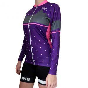 Camiseta de ciclismo manga larga para mujer