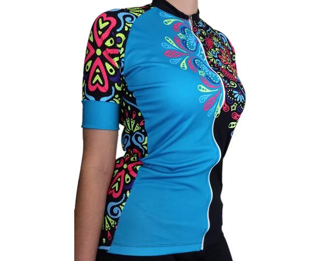 ebb2e9d5b0 Camiseta de Ciclismo Mujer Mandala azul - Forza Fit Wear Ropa Deportiva